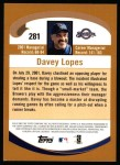 2002 Topps #281  Davey Lopes  Back Thumbnail
