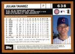 2002 Topps #638  Julian Tavarez  Back Thumbnail