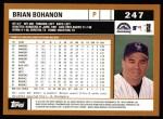 2002 Topps #247  Brian Bohanon  Back Thumbnail