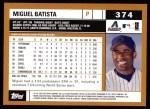 2002 Topps #374  Miguel Batista  Back Thumbnail