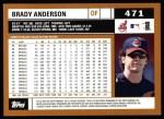2002 Topps #471  Brady Anderson  Back Thumbnail