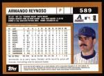 2002 Topps #589  Armando Reynoso  Back Thumbnail