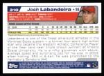 2004 Topps #310   -  Josh Labandeira First Year Back Thumbnail