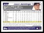 2004 Topps #413  Jason Jennings  Back Thumbnail