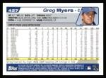 2004 Topps #427  Greg Myers  Back Thumbnail