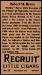 1912 T207 Reprint  Robert M.Byrne  Back Thumbnail