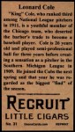 1912 T207 Reprint  Leonard Cole  Back Thumbnail