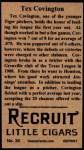 1912 T207 Reprint  Tex Covington  Back Thumbnail