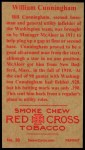 1912 T207 Reprint  Bill Cunningham  Back Thumbnail