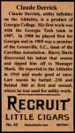 1912 T207 Reprint  Claud Derrick  Back Thumbnail