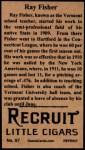 1912 T207 Reprint  Ray Fisher  Back Thumbnail