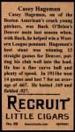 1912 T207 Reprint  Casey Hageman  Back Thumbnail