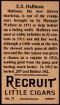1912 T207 Reprint  E.S. Hallinan  Back Thumbnail