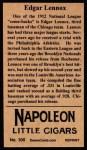 1912 T207 Reprint  Ed Lennox    Back Thumbnail