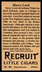 1912 T207 Reprint  Harry Lord  Back Thumbnail
