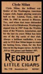 1912 T207 Reprint  Clyde Milan  Back Thumbnail