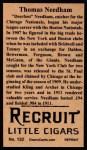1912 T207 Reprint  Thomas Needham  Back Thumbnail