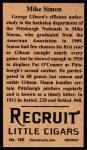 1912 T207 Reprint  Mike Simon  Back Thumbnail