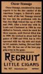 1912 T207 Reprint  Oscar Stanage  Back Thumbnail