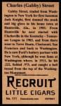 1912 T207 Reprint  Charles (Gabby) Street  Back Thumbnail