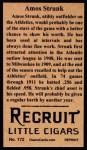 1912 T207 Reprint  Amos Strunk  Back Thumbnail