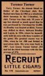 1912 T207 Reprint  Terence Turner  Back Thumbnail