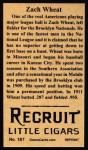 1912 T207 Reprint  Zach Wheat  Back Thumbnail