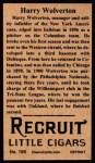 1912 T207 Reprint  Harry Wolverton  Back Thumbnail
