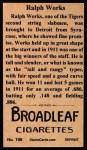1912 T207 Reprint  Ralph Works  Back Thumbnail