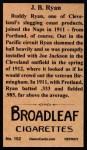 1912 T207 Reprint  J.B. 'Bud' Ryan    Back Thumbnail