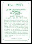 1978 TCMA The Stars of the 1960s #129  John DeMerit  Back Thumbnail