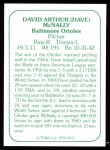 1978 TCMA The Stars of the 1960s #270  Dave McNally  Back Thumbnail