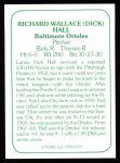 1978 TCMA The Stars of the 1960s #170 B Dick Hall  Back Thumbnail