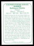 1978 TCMA The Stars of the 1960s #57  Steve Barber  Back Thumbnail