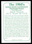 1978 TCMA The Stars of the 1960s #237  Donn Clendenon  Back Thumbnail