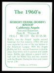 1978 TCMA The Stars of the 1960s #234  Bobby Knoop  Back Thumbnail