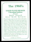 1978 TCMA The Stars of the 1960s #176  Floyd Weaver  Back Thumbnail
