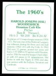 1978 TCMA The Stars of the 1960s #123  Hal Woodeschick  Back Thumbnail