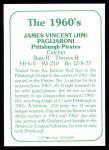 1978 TCMA The Stars of the 1960s #91  Jim Pagliaroni  Back Thumbnail