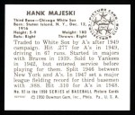 1950 Bowman REPRINT #92  Hank Majeski  Back Thumbnail