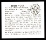 1950 Bowman REPRINT #162  Eddie Yost  Back Thumbnail
