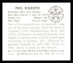 1950 Bowman REPRINT #11  Phil Rizzuto  Back Thumbnail