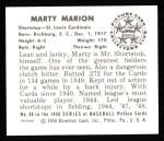 1950 Bowman REPRINT #88  Marty Marion  Back Thumbnail