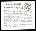 1950 Bowman REPRINT #23  Don Newcombe  Back Thumbnail