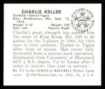 1950 Bowman REPRINT #211  Charlie Keller  Back Thumbnail