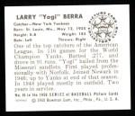 1950 Bowman REPRINT #46  Yogi Berra  Back Thumbnail
