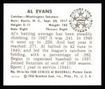 1950 Bowman REPRINT #144  Al Evans  Back Thumbnail