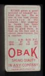 1911 T212 Obak RED Walt Kuhn  Back Thumbnail