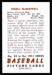 1951 Bowman REPRINT #24  Ewell Blackwell  Back Thumbnail