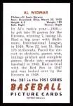 1951 Bowman REPRINT #281  Al Widmar  Back Thumbnail